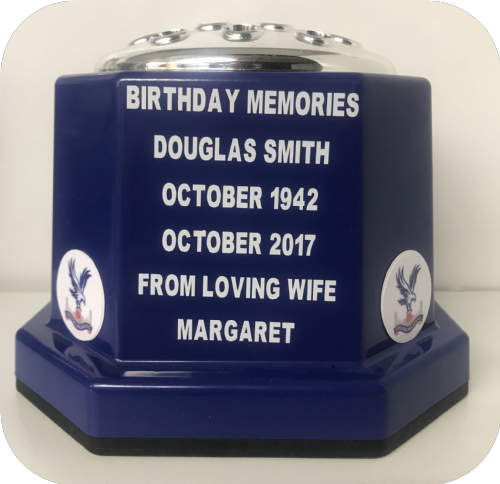 Crystal Palace F. C. football personalised Grave pot 50p blue